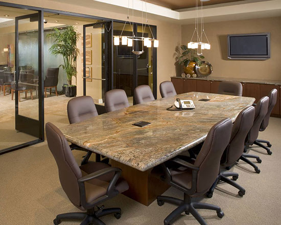 Office Conference Room with Natural Stone