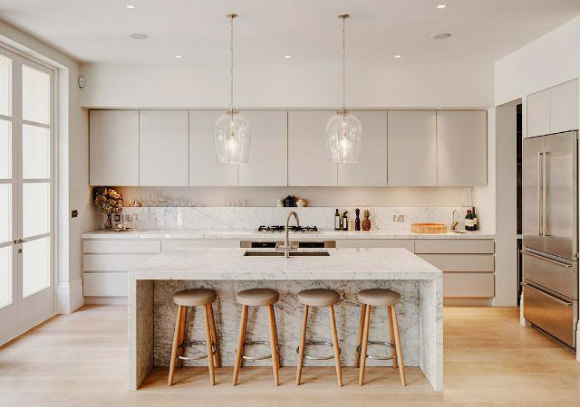 Modern White Marble Kitchen Countertop And Island