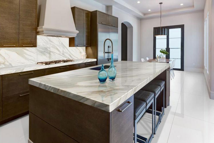Neolith Calacatta Gold Residential Kitchen Countertop And Backsplash