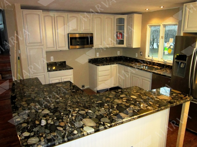 Black Marinace Countertops On White Kitchen Picture